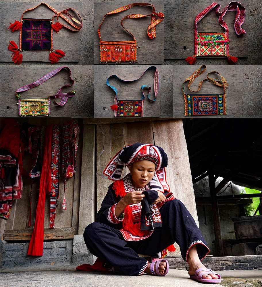 Red Dao woman embroidery
