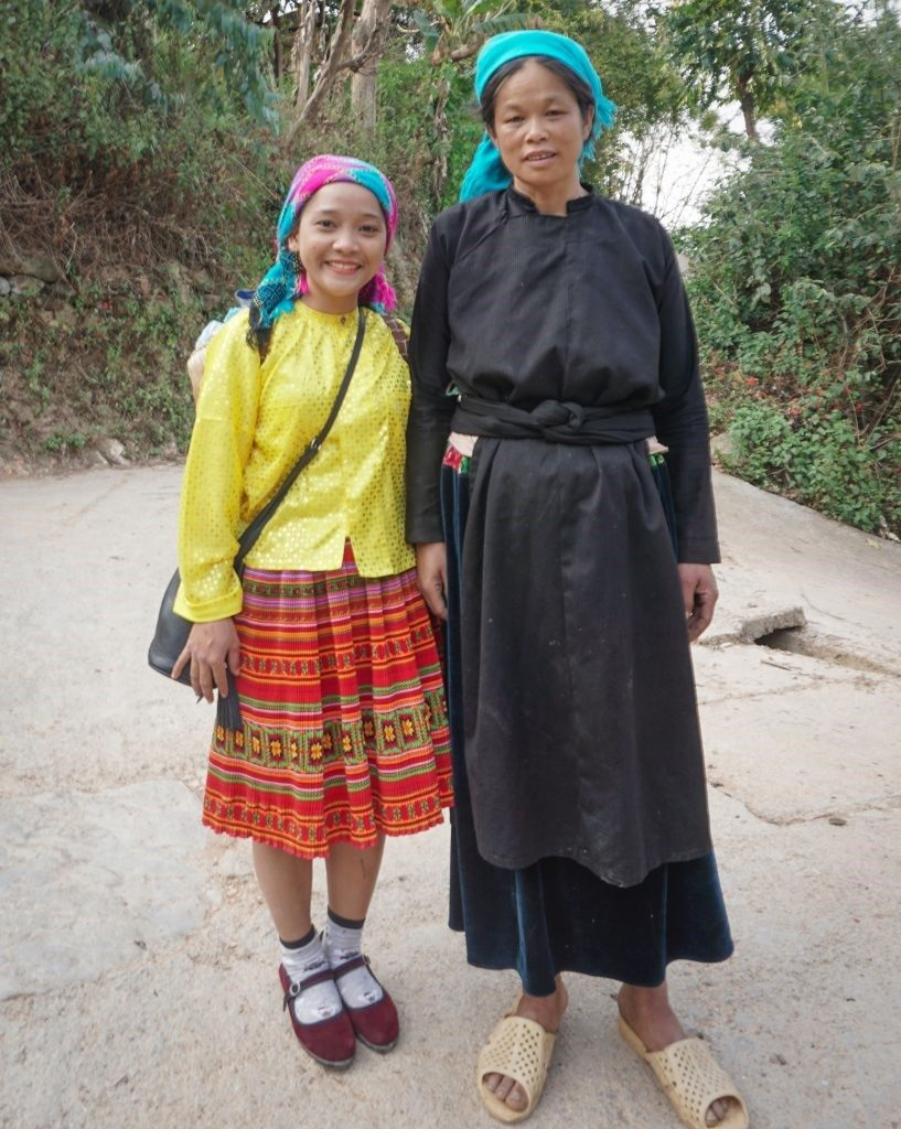 with tay woman in village